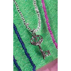 Gods Girl Key Necklace - White Beads