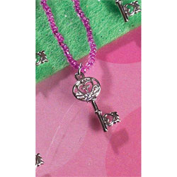 Gods Girl Key Necklace - Purple Beads