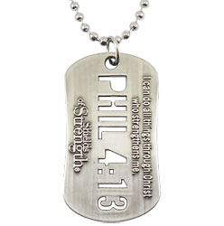 Phil 4:13 Cut Out Dog Tag