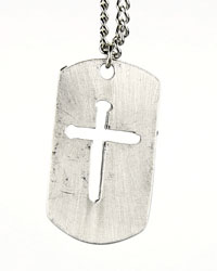 Nail Cross Cutout Dog Tag Necklace