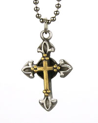 Brass Double Bud Cross Necklace