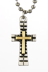 Brass Double Flare Cross Necklace