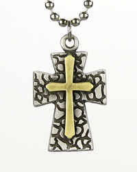 Brass Double Pebble Cross Necklace