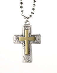Brass Large Double Box Cross Necklace