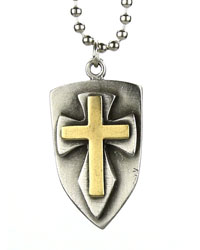 Brass Sheild Cross Necklace