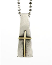 Brass Tapered Pendant with Box Cross Necklace