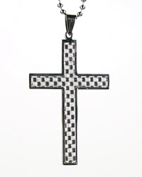 Carbon Fiber Box Cross Necklace
