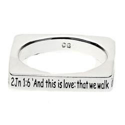2 John 1:6 Square Ring