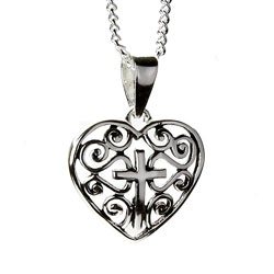 Filigree Heart Cross Necklace