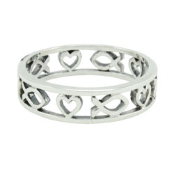 Cutout Heart and Ichthus Ring