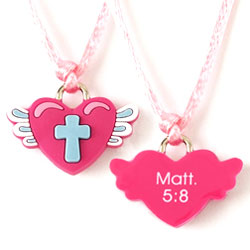Heart Wings Cross Silicone Necklace