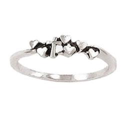 Tiny Hearts Cross Ring