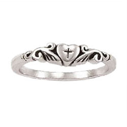 Cross in Puffy Heart Ring