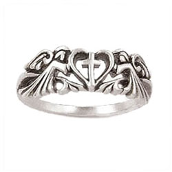Angels Cross Heart Ring