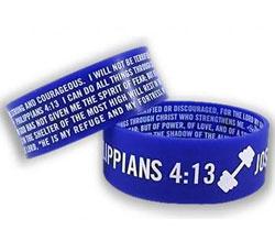 Blue Silicone Scripture Bracelet