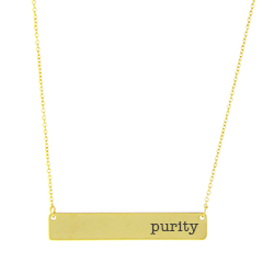 Purity Bar Necklace bar necklace, text necklace, antique-looking necklace, gold bar necklace, purity, purity necklace, pure necklace, pure