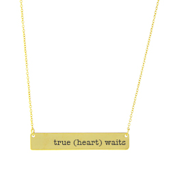 True (heart) Waits Bar Necklace bar necklace, text necklace, antique-looking necklace, gold bar necklace, true love waits, true heart waits, true (heart) waits, true love waits necklace