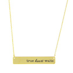 True Heart Waits Bar Necklace bar necklace, text necklace, antique-looking necklace, gold bar necklace, true love waits, true heart waits, true (heart) waits, true love waits necklace