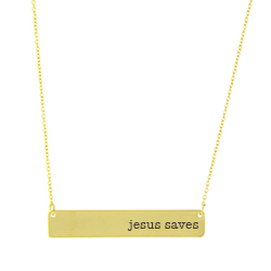 Jesus Saves Bar Necklace bar necklace, text necklace, antique-looking necklace, gold bar necklace, jesus saves, jesus saves necklace