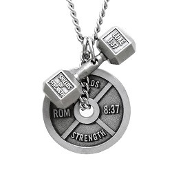 Dumbbell & Weight Plate Scripture Necklace