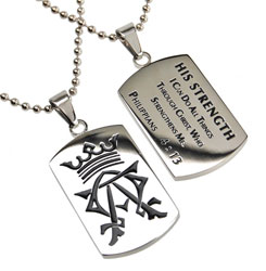 His Strength Alpha & Omega Dog Tag Necklace