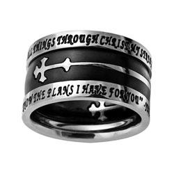 Black Double Cross Tiara Ring