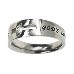 God's Love Never Fails Solitaire Ring