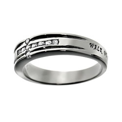 Walk By Faith Diamond Cross Ring
