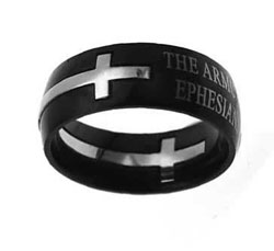 Black Armor of God Double Cross Ring