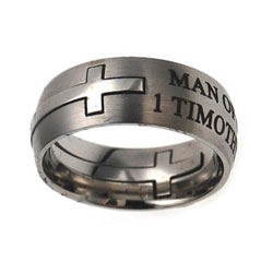 Silver Man of God Double Cross Ring