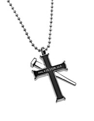 Christ My Strength Black Established Cross Necklace