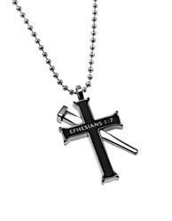 Forgiven Black Established Cross Necklace