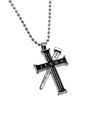 Jesus Black Established Cross Necklace
