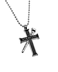Man Of God Black Established Cross Necklace