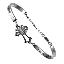 Christ My Strength CZ Cross Bracelet