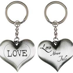 Love Never Fails Metal Keyring