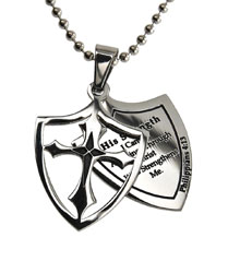 His Strength 2 Piece Shield Necklace