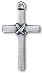 Pewter Cross Rope Necklace