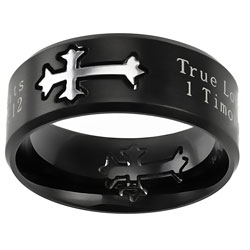 True Love Waits Black Neo Cross Ring - ST-NEO-TLW-BLK
