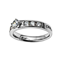 Christ Lives in Me Princess Solitaire Ring