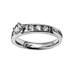 Christ My Strength Princess Solitaire Ring