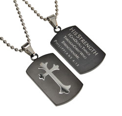 His Strength Black Shield Cross Necklace - ST-SC-BLK-HS