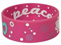 Pink Peace Silicone Bracelet