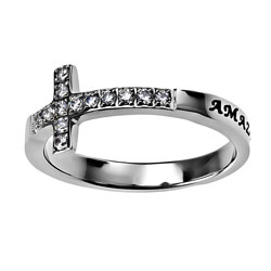 Amazing Grace Sideways Cross Ring