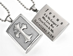 Christ Lives in Me White Graphite Cross Necklace
