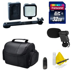 DSLR / Camcorder Video Accessory Kit- Compatible with Any DSLR or Video Camera- Nikon, Canon, Sony, Panasonic - Includes LED Video Light + 32GB Transcend SD Memory Card