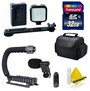 DSLR / Camcorder Video Accessory Kit- Compatible with Any DSLR or Video Camera- Nikon, Canon, Sony, Panasonic - Includes LED Video Light + Scorpion Grip + 32GB Transcend SD Memory Card
