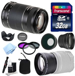 Canon Lens Kit With Canon EF-S 55-250mm f/4-5.6 IS II Zoom Lens (58mm Thread) + Wide & Telephoto Auxiliary Lenses + 3 Piece Filter Kit + 32 GB Transcend SD Card-for Canon DSLR Cameras