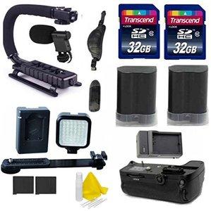 Nikon DSLR Video Accessory Kit With 2 Spare EN EL15 for Nikon Battery + Battery Grip + 2 32 GB Transcend + Rechargeable LED Video Light + Scorpion Grip + Digital Video Mic- For Nikon DLSR Cameras