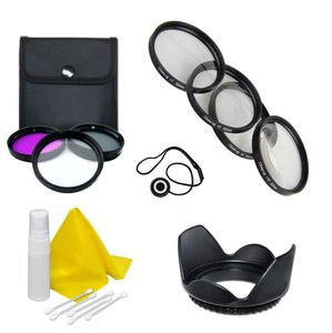 Lens Accessory Kit- Compatible with Any DSLR or Camcorder- 72mm - Nikon, Canon, Sony, Panasonic –Includes 3 Piece Filter Kit- UV, CPL, FLD + 4 Piece Macro Close Up Kit + Lens Hood + Cap Keeper